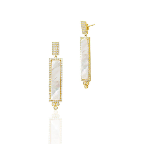 Long Mother of Pearl Pav̩ Framed Bar Drop Earrings - FREIDA ROTHMAN