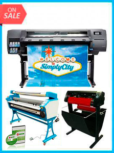"Latex 110 Printer - Recertified (90 Days Warranty) + 53"" 3 ARMS CONTOUR CUT VINYL CUTTER W/ VINYLMASTER CUT SOFTWARE + 55"" FULL-AUTO LOW TEMP. WIDE FORMAT COLD LAMINATOR, WITH HEAT ASSISTED + INCLUDES FLEXI RIP SOFTWARE"