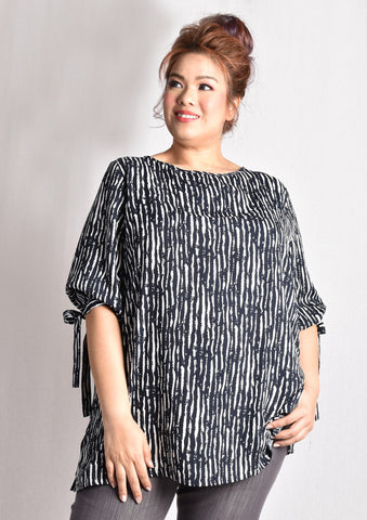 Black & White Abstract Striped Blouse with Ribbon at Sleeves