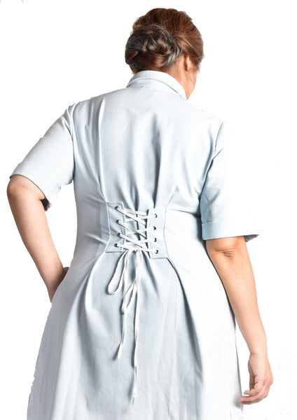 Light Blue Striped Collared Dress with Corset Back Details