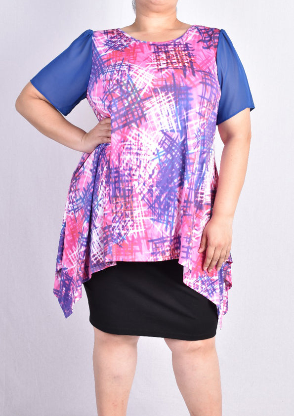 Pink Abstract Blouse with Side Drape and Mesh Sleeves