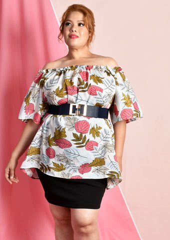 Off Shoulder Flare Sleeve Blouse (Autumn Leaves/Striped Cranes)