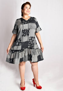 Abstract Patches Drop-waist Dress