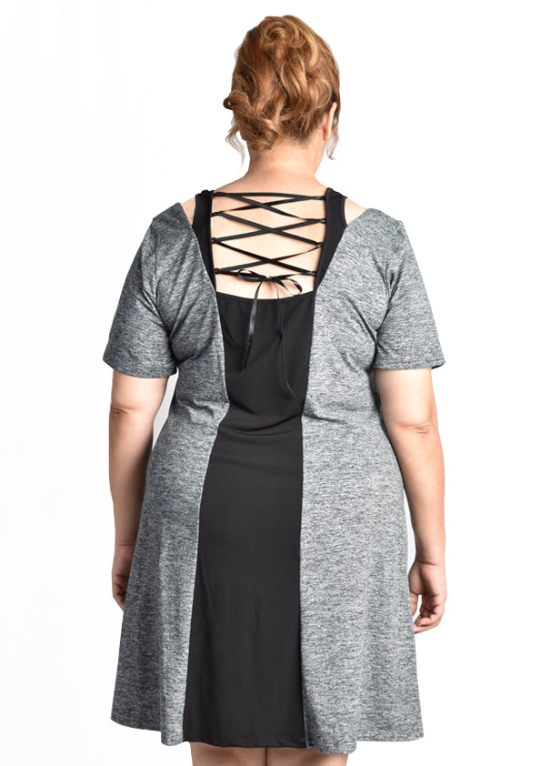 """Carena"" Casual Sports Dress (Black/Grey)"