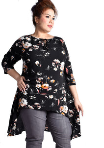 """Didiliah"" 3/4 Sleeves Hi-low Floral Printed Blouse (Medium/Mini Prints)"