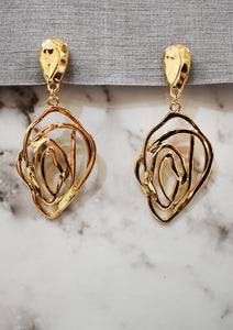 Gold Distorted Line Rose Clip On Earrings