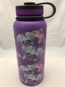 32oz Water Bottle Insulated Double Wall UV Print Hawaiian Vanda Orchid Wrap New