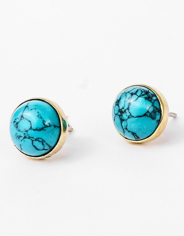 Turquoise Studs - Brass