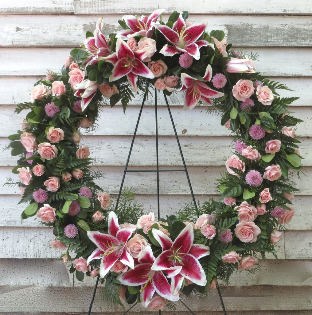 Sympathy Floral Wreath, Pink Lilies, Roses.  Designed by Michler's Florist in Lexington, KY