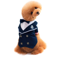 Alfie Pet by Petoga Couture - Sevan Nautical Shirt with Bow Tie Navy Large