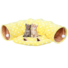 Towerin Cat Tunnel Toy and Bed with Scratching Ball Collapsible Cat Mate Easy to Clean Soft Removable Shack House Suitable for Puppy&Kitty yellow