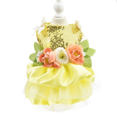 Biling Dog Wedding Dress Flower Dog Pet Cat Luxury Princess Party Dress Summer Dog Chihuahua Clothes Costume Yellow L