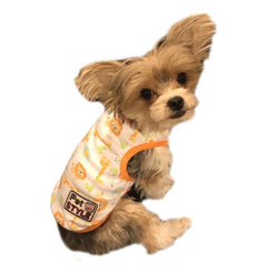 HappyDoggie Dog Clothes Soft Cotton Tee Shirt Pullover | Pet Puppy Cat Polo T Shirts Tank for Summer | Lion & Giraffe Orange Yellow S