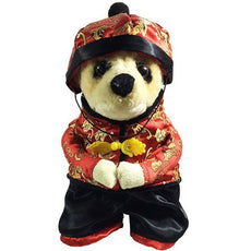 PETLOVE Small Dog Clothes for Winter Chinese New Year Dog Costume with Hat Dog Coat Fleece Lined S