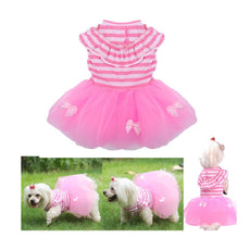Stock Show 1Pc Summer Sweet Style Pet Dog Striped Tutu Skirt Dog Cat Spring Summer Dress Short Cute Female Girl Pink Princess Dog Party Wdeeing Dresses Applique Pet Clothes 2018 Back Length£º14""