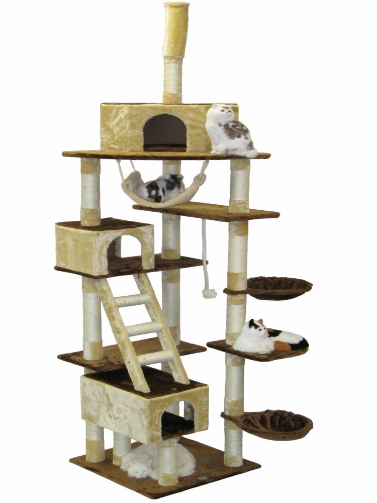 Go Pet Club Beige and Brown Cat Furniture Condo Tree - 92 in.