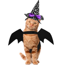 Petacc Cat Costume Halloween Pet Bat Wings Cool Cats Clothes with Wizard Hat, Self-Adhesive Strap, Easy to Wear, Suitable for Cats Within 10lb