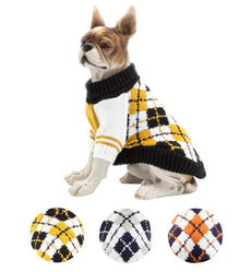Petslove Turtleneck Classic Diamond Plaid Tartan Pet Dog Sweater Apparel Pet Knit Clothing Winter Cold Weather yellow and black S