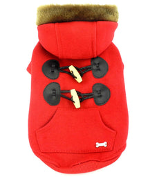 SMALLLEE_LUCKY_STORE Small Dog/Cat Fleece Horns Hoodie Jacket Hooded Coat Red X-Small