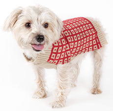 Pet Life Butterscotch Box Weaved Heavy Cable Knitted Designer Turtle Neck Dog Sweater Tan and Red Medium