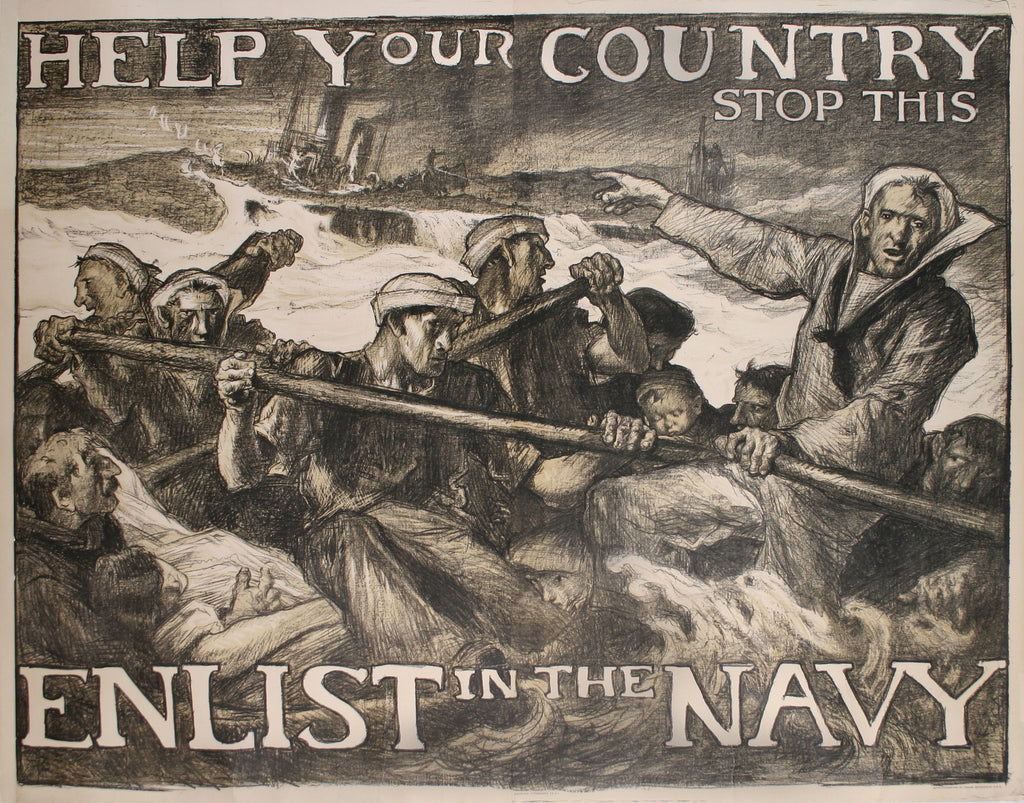 <b>FRANK BRANGWYN</b><br> HELP YOUR COUNTRY STOP THIS, CIRCA 1917</br>