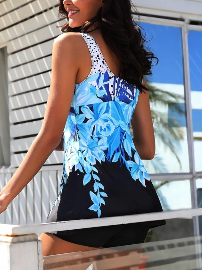Women's Fashion Floral Printed Tankini Set Swimwear Swimsuit