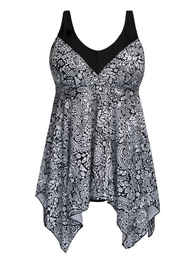 Stitched Flower Irregular Skirt Dress Tankini