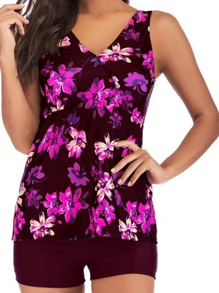 Floral Printed Strappy Back Tankini Set