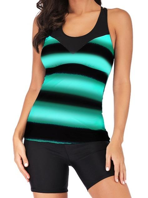 Striped Gradient Printed Strappy Back Tankini Set