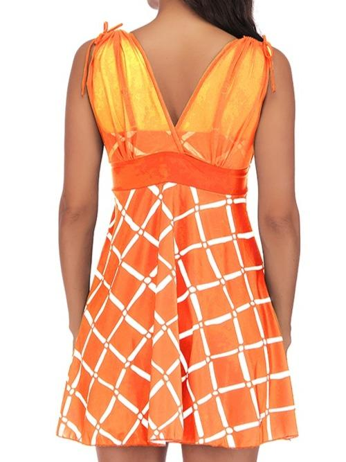 Plaid Patchwork Spaghetti Strap Tankini Set