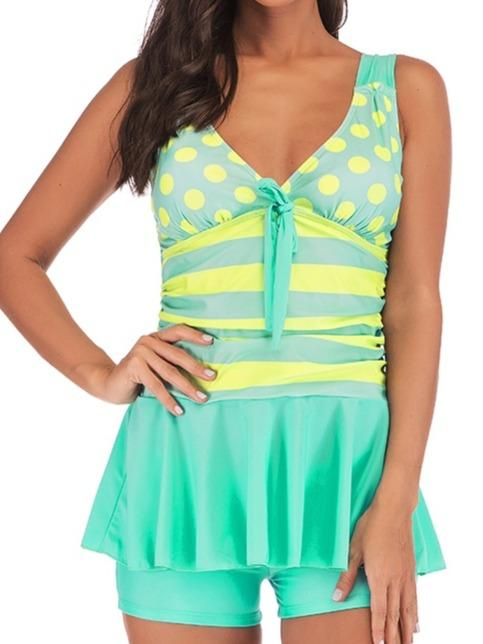 Striped Dot Printed Spaghetti Strap Tankini Set