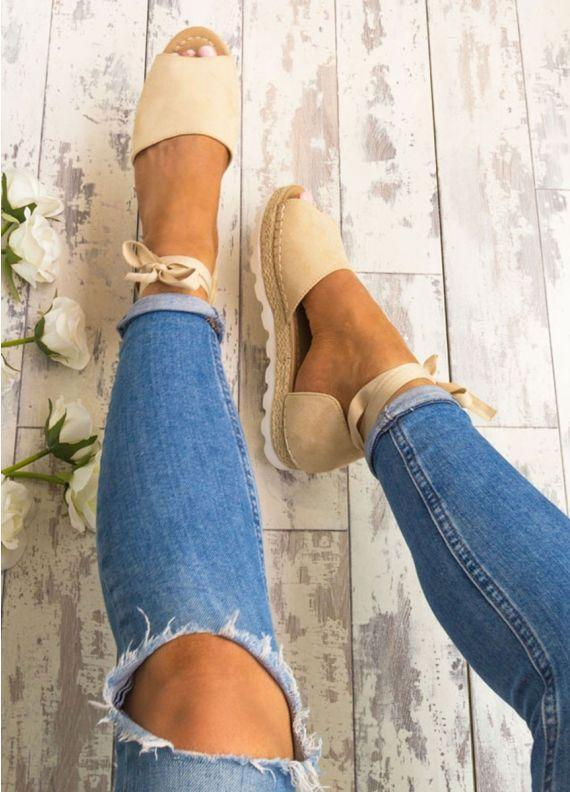 Women Lace Up Leather Flats Sandal Shoes