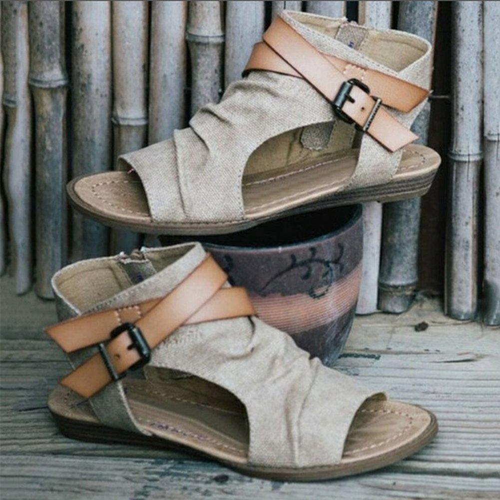 Women Lace Up PU Leather Flats Sandal Shoes