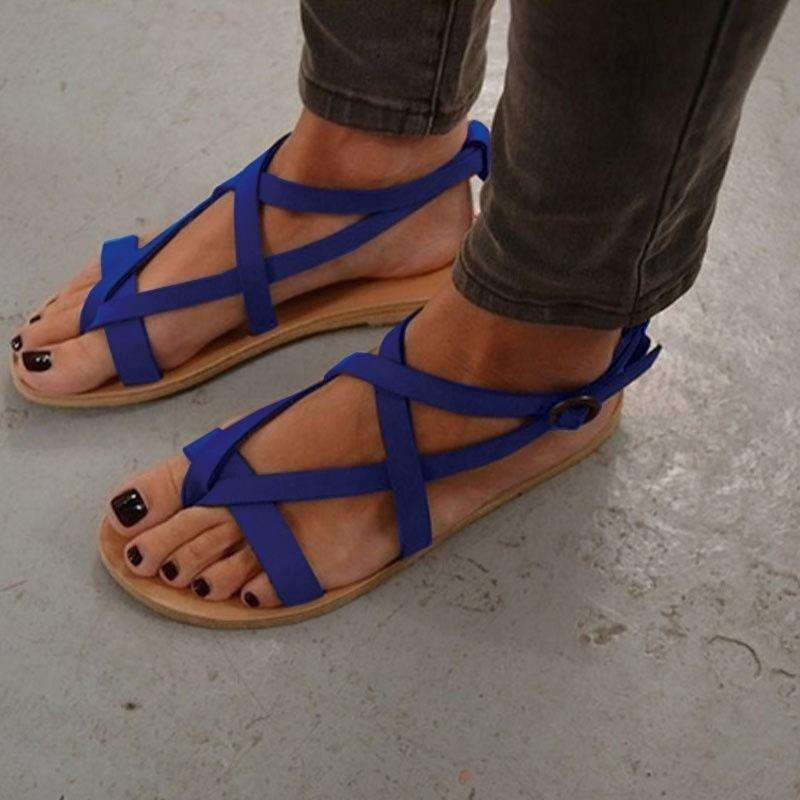 Women Fashion Leather Flats Sandal Shoes
