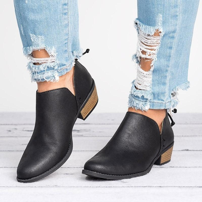 High Quality Women Butterfly-knot Chelsea Boots Slip-On Med High Heels Pointed Toe Shoes