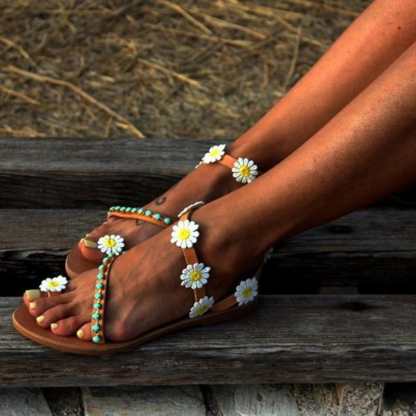 NEW Women's Fashion Sweet Beaded Flower Clip Toe Flat Bohemian Beach Sandals Plus Size 35-44