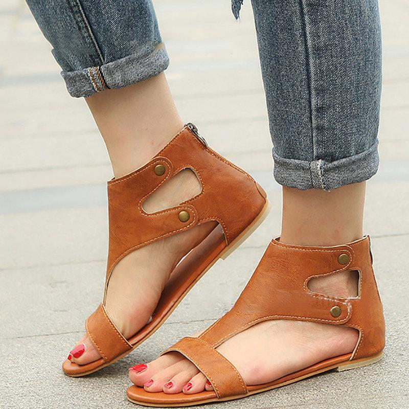 Button Daily Zipper Hollow-out Sandals