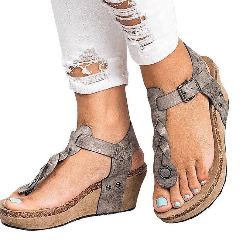Summer Daily PU Braided Strap Sandal