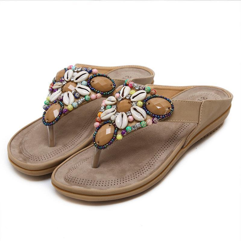 Large Size Seashell Backless Bohemian Sandals For Women