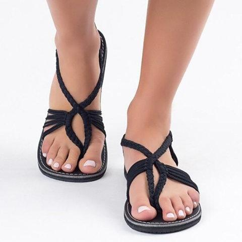 Women Large Size Braided Flat Heel Holiday Sandals