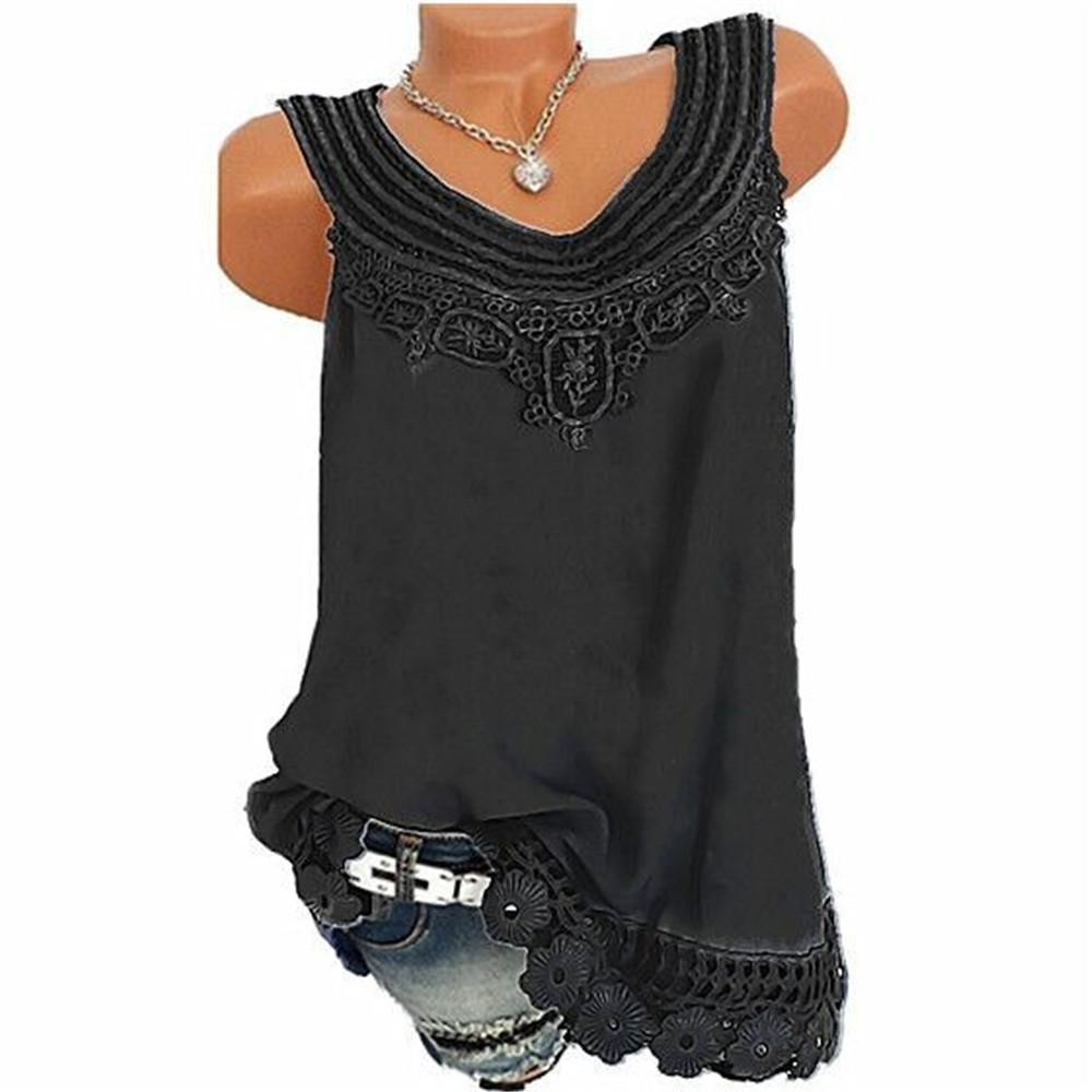 Summer Women Lace Sleeveless Vest Shirt Tank Tops Blouse T-shirt Loose T shirt