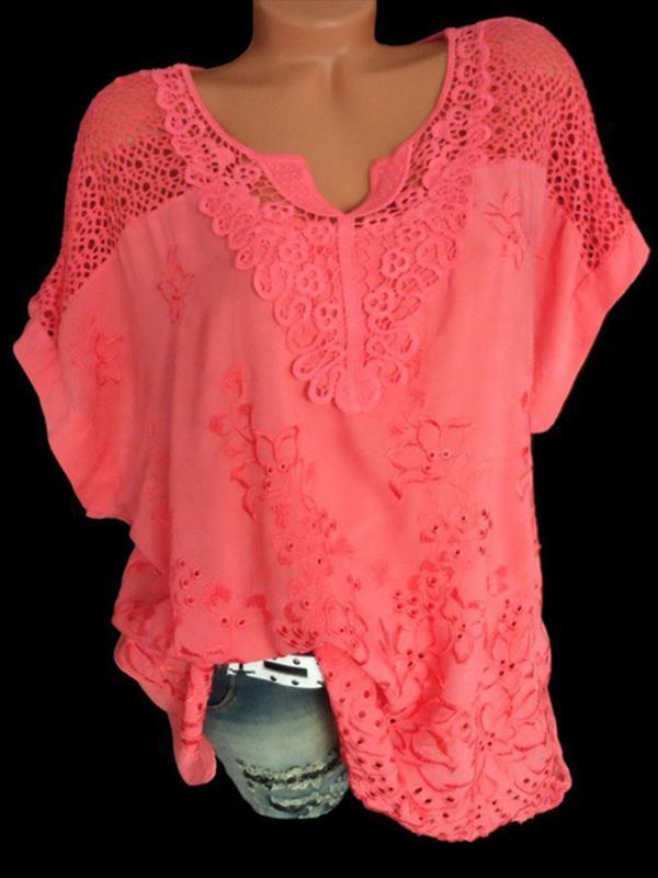 Woman Fashion Openwork Lace Shirt Tops Blouse