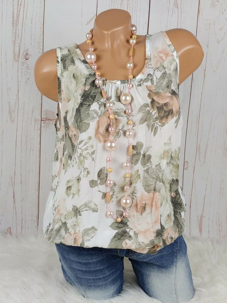 Women Round Collar Printed Sleeveless Top