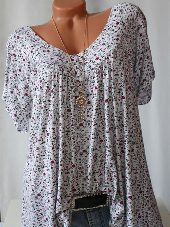 Plus Size Women Fashion Blouse Casual Loose Floral Printed V-neck Short Sleeve Tops