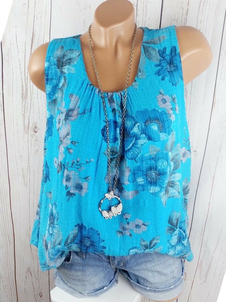 Women's Floral Printed Sleeveless O-neck Tops Blouse