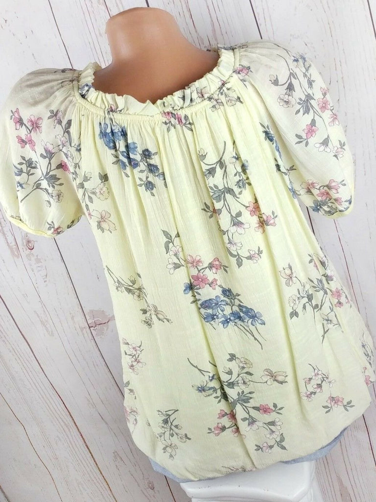 Women's Floral Printed Short Sleeve O-neck Tops Blouse