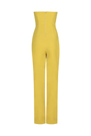 Off Shoulder Sashes Solid Yellow Bandage Pantsuit