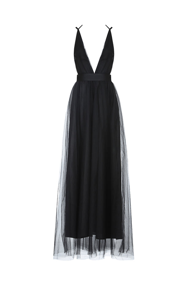 Solid White(Black) V-neck Maxi Gown Dress