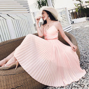 Plus Size V-Neck Summer Casual Pleated Dress