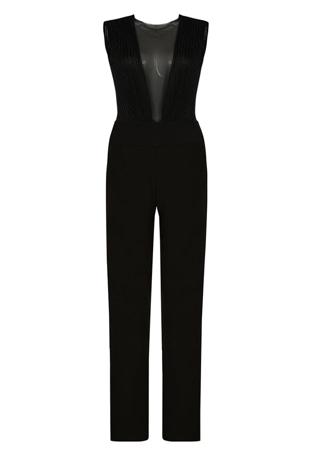 Sleeveless Round-Neck See-Through Mesh Straight Pants Jumpsuits